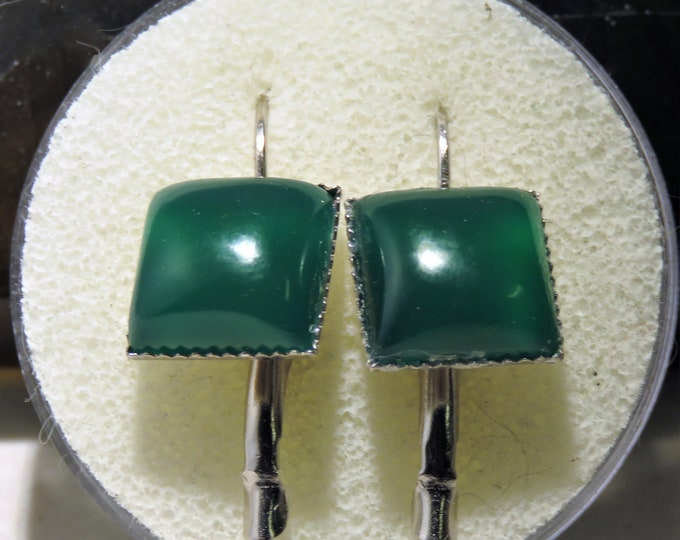 Green Onyx. Silver Dangle Earrings. Stylish, 12mmx12mm Square Gems.Gorgeous Deep Green. Looks and Feels Like Jade.  Unique and Stunning Gems
