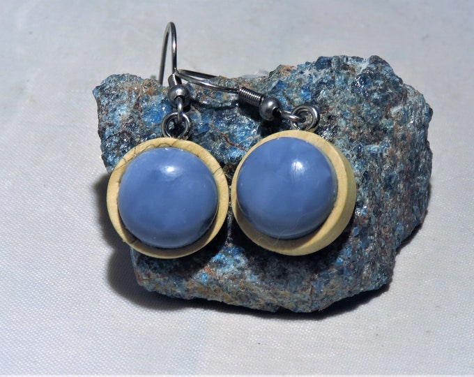 Sacred Owyhee Opals From the Indian Springs of Oregon. Dangle Earrings. 12mm Gems Set in Real Wood Settings. Very Special and Beautiful Gems