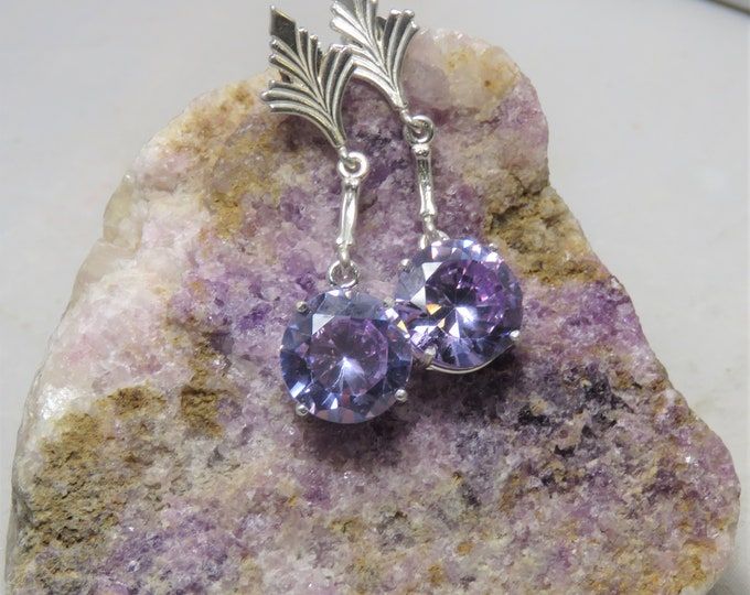 Lilac Zircon Dangle Earrings. Natural (NOT CZ) Gems From Cambodia. Stunning Lilac Color w/ Incredible Brilliance and Scintillation. Sterling
