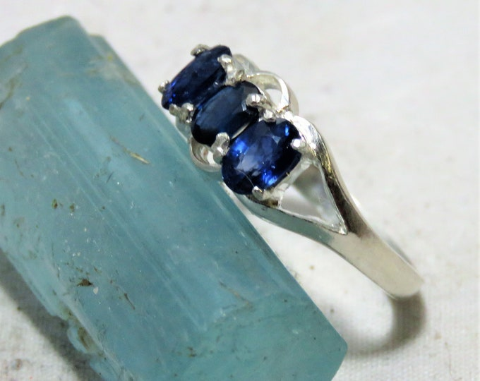 Sapphire Triple Stone Ring.  Stunning, Three 6x4mm Faceted Oval Natural Sapphires from Sri Lanka.  Set in a Sterling Silver, Size 7 Ring.