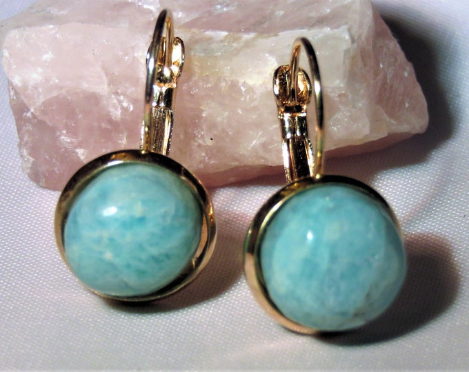 Earrings. Dangles. Amazonite.Unique,Beautiful Blue Gem of the Amazon Warriors. Anti-Anxiety&Virgo Gem.12mm round gems in Rose Gold setting.