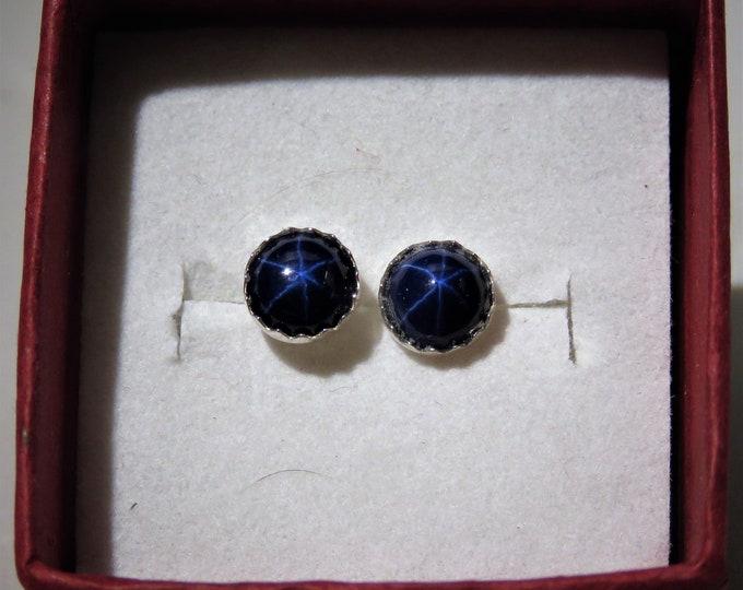 Star Sapphire. Earrings. Stud. ON SALE. 6mm Natural Star Sapphires fr. Sri Lanka, Set in Sterling Silver. Gorgeous Blue Starring Gems.