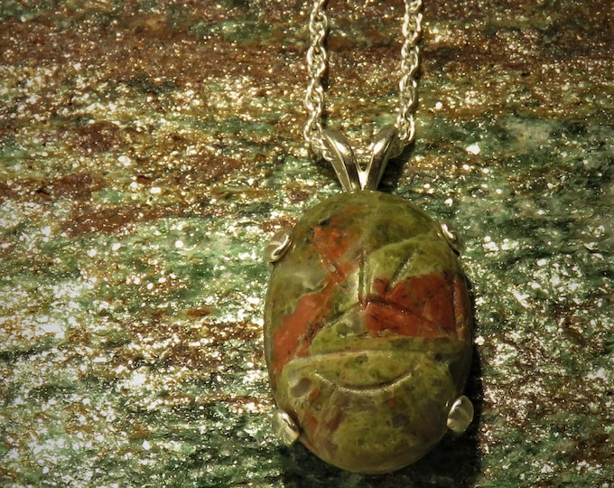 "Pendant. Unakite Scarab Pendant.  Used in Egyptian Magick.  16 x 12mm Carved Gem, Set in Sterling Silver w/ 22"" Chain.  Very Unique.  Cool!!"