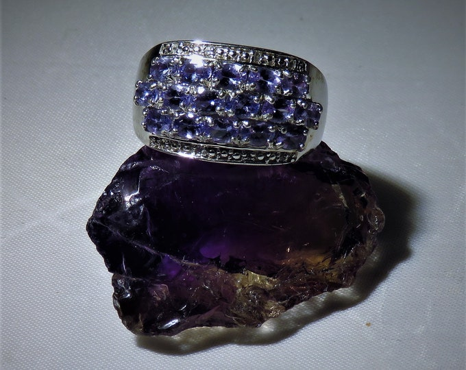 Amethyst. Ring. Vintage. REDUCED. 16, 2.5-3mm natural gems. Sterling Silver Setting  Unique, One of a KInd.  Probably mined in Brazil.