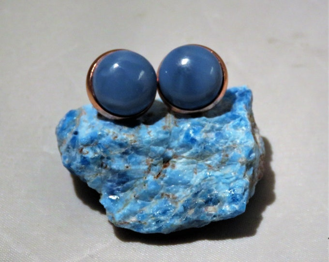 Owyhee Opal. Earrings. From Sacred Indian Springs in Owyhee, Oregon, USA. RARE 12mm Gorgeous Blue Opal Gems Set in Rose Gold Studs. Unique!