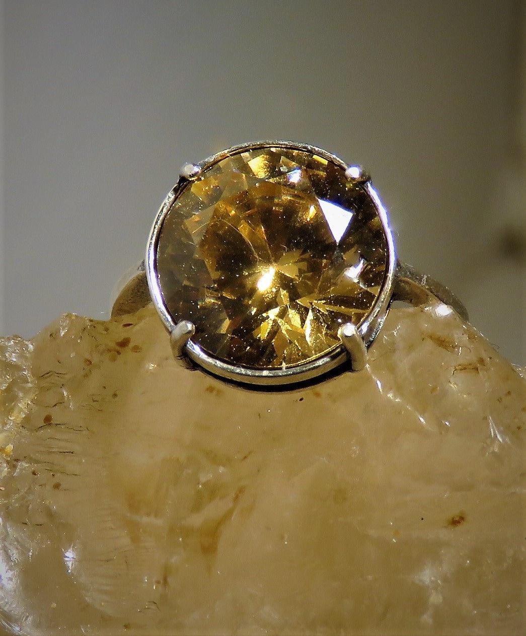 Golden Zircon Ring Adjustable Natural Gem Not Cz From Cambodia Yellow Near Flawless 12mm Round Brilliant Cut W Stunning Scintillation