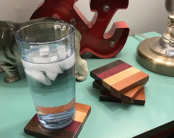 Striped Drink Coasters (4)