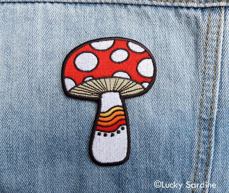 Mushroom Embroidered Patch Mushroom Mushroom Iron On Patch Mushroom Rainbow Patch