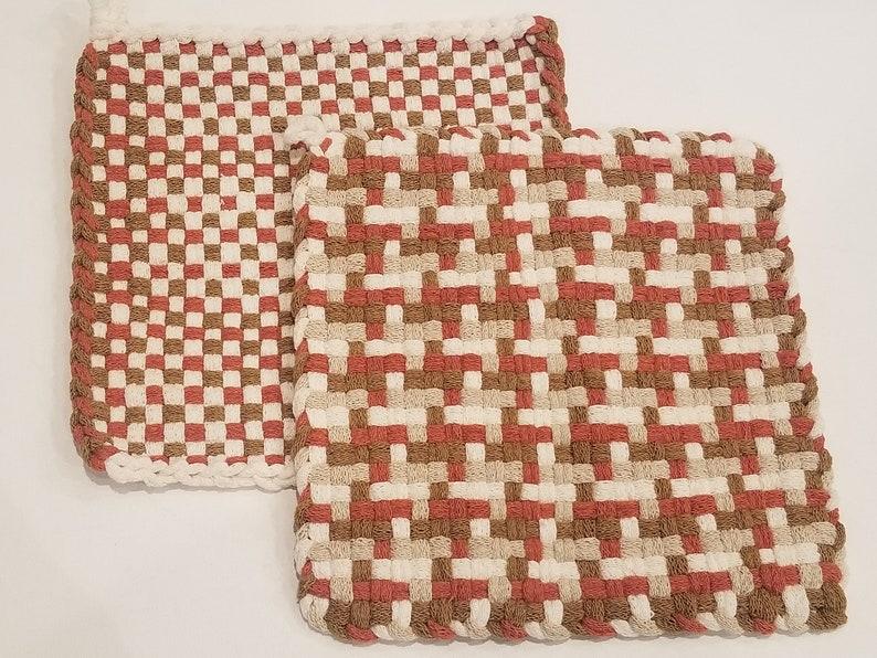 XL Woven Cotton Hot Pads Handmade Woven 100/% Cotton Pot Holders Kitchen Trivet Set of 2 LARGE Woven Cotton Potholders