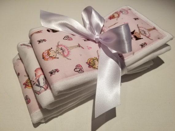Ballerinas ~ Slippers Burp Cloths | Gerber 6 Ply Burp Cloths & Cotton | Set of 3 Diaper Burp Cloths | Pre Washed in Hypoallergenic Dreft