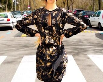 Black stamped velvet dress with gold