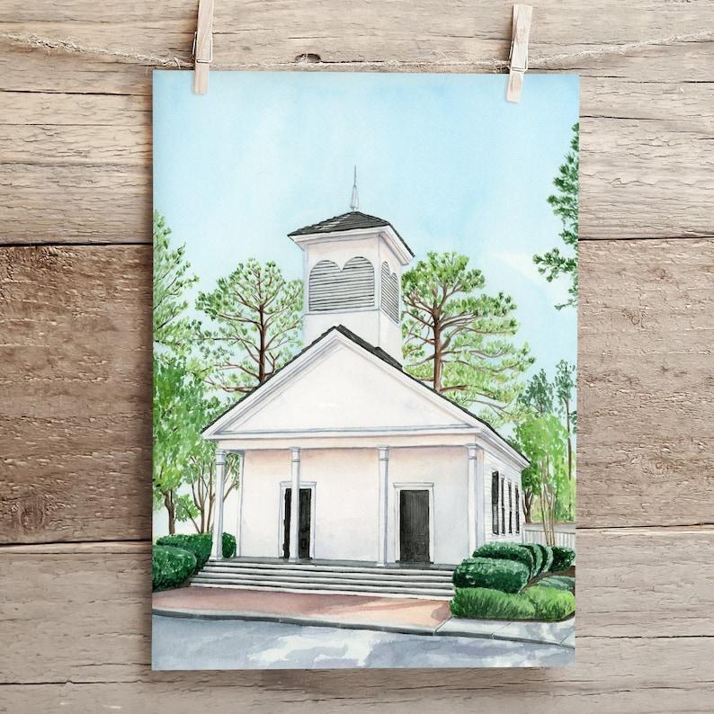 Mobile Alabama Art University of Mobile Art Historic Church Art Lyon Chapel Watercolor Painting and Prints