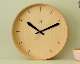 Maple wall clock with maple dial