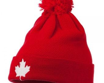e6d228b8836 Canada Maple Leaf Embroidered Pom Beanie