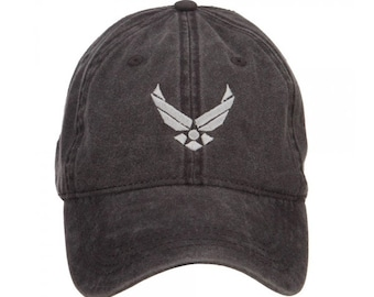 US Air Force Silver Logo Embroidered Washed Cap 905ff7dc190