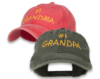48831dcf6d4b0 Number 1 Grandpa Number 1 Grandma Letters Embroidered Washed Cotton Cap