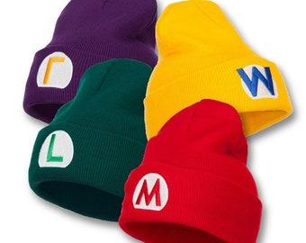 28dafdfcd9a Mario Luigi Wario Waluigi Embroidered Long Beanie