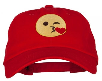 3c54a7b320e Emoji Patched Unstructured Washed Cap   Cotton Cap   Kiss   Tears   Heart    Peace   Thumbs Up