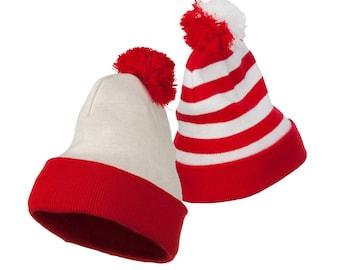 435f8ea6b9a Red White   Striped Pom Pom Long Beanie