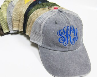 bcd9ccc543baf Monogram Embroidery washed Mesh Cap  Personalized Dyed Hat  Customize  Name Text   Initial  Letters