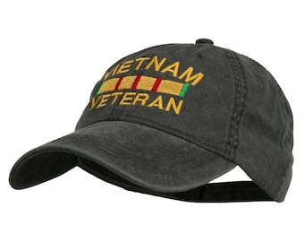ec4d7508952ff0 Vietnam Veteran Embroidered Pigment Dyed Brass Buckle Cap