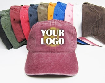 Custom Embroidery Baseball Cap  Personalized Pigment Dyed Hat  Monogram   Name  Text Dad Hat  Washed Cap 3d32ef70d87f