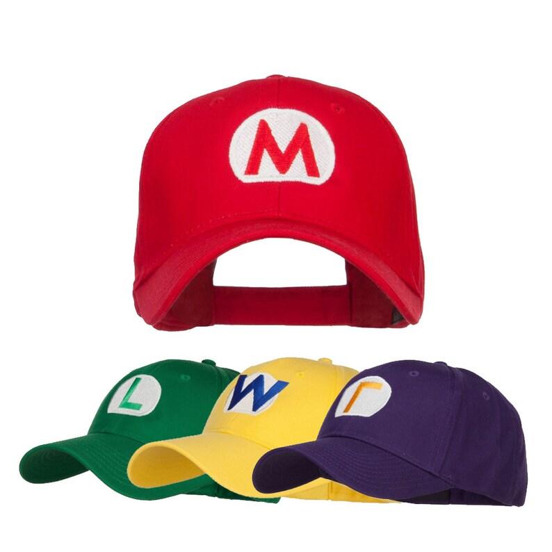 Mario Luigi Wario Waluigi Embroidered Cap Mario Bros Fire  fa48a28136de