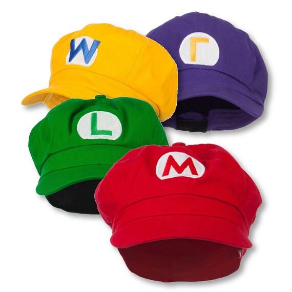 Mario and Luigi Wario Waluig Embroidered Cotton Newsboy Cap  1d5973a001e5
