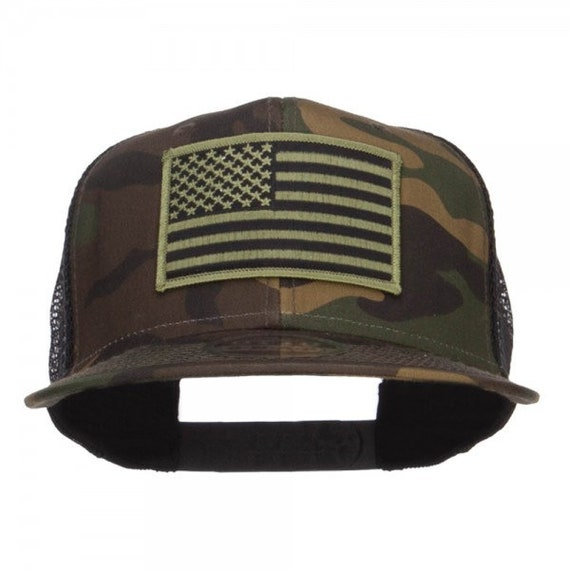 Subdued American Flag Patched Camo Snapback  04ba520de36