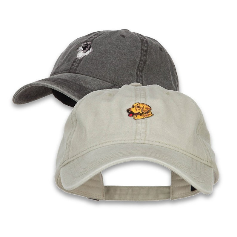 06978f37501 Dog Embroidered Washed Cotton Cap Dad hat Golden