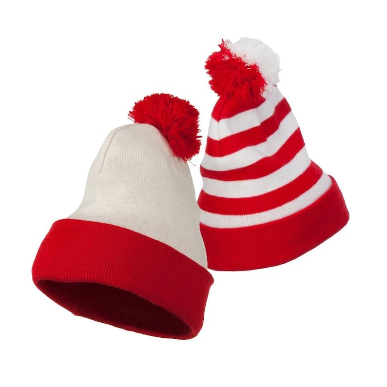 3cec116404e Red White   Striped Pom Pom Long Beanie