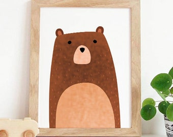Woodland Nursery,woodland nursery bear,Nursery wall art,Kids room decor,Baby nursery decor,Printable art,Instant download, cute animal decor