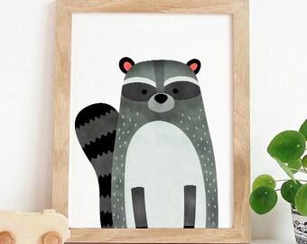 Woodland Nursery Raccoon,woodland nursery,Nursery wall art,Kids room decor,Baby nursery decor,Printable, Instant download, cute animal decor