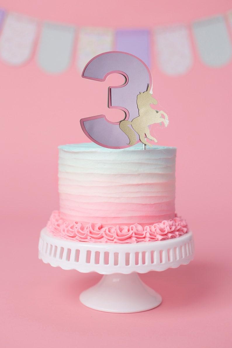 Unicorn Cake Topper | Unicorn Third Birthday Cake Topper | Unicorn Theme |  Gold Glitter | Unicorn Party | Unicorn Theme | Girl Birthday