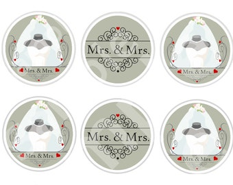 MRS. & MRS. Engagement/Wedding Cupcake Toppers