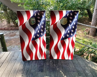 Dry Land US Flag Cornhole Toss Game Board Wraps Sticker Decal Skin Graphic