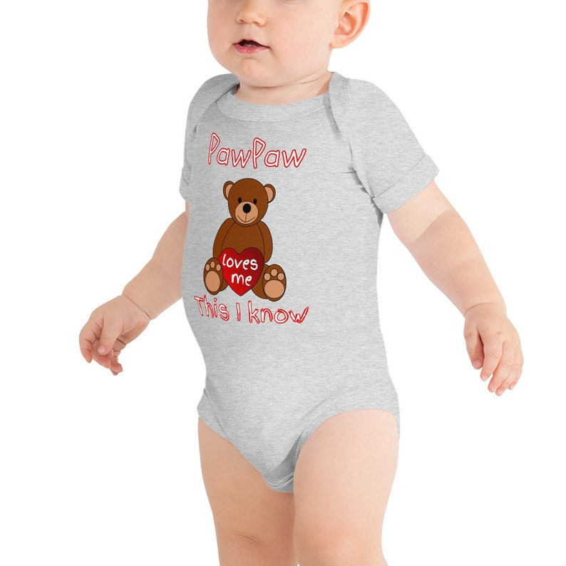 PawPaw Loves Me Cute Grandpa Baby Onesie \u00ae Bodysuit Unique Grandfather Gift to Granddaughter or Grandson Can Be Custom Personalized