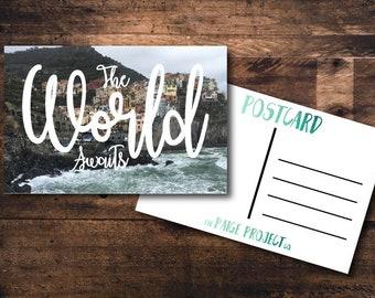 4x6 Postcard The World Awaits Cinque Terre Italy Wanderlust Postcard