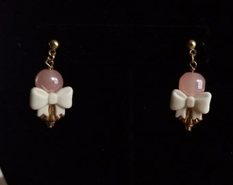 Pink Bead and Bow Earrings