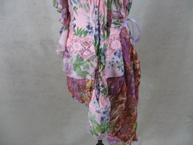 Romantic Tunic Blouse Pastel Spring Floral Tie Back Boho Bohemian Festival Gypsy Upcycled Clothing Refashioned Restyled Adjustable SZ S to L