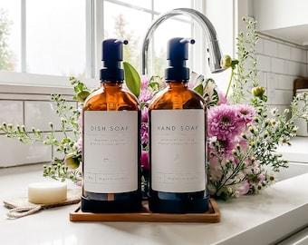 GLASS SOAP DISPENSER with Label & Silicone Sleeve, Soap Dispenser, Soap Dispenser, Amber Soap Dispenser, Hand Soap Dispenser, Kitchen Decor