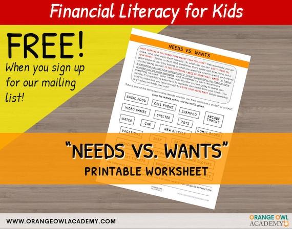 Money Worksheet For Kids Needs Vs Wants Etsy