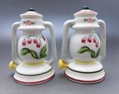 Lantern Salt and Pepper Shakers-Novelty-Mid Century-Kerosene Lantern-Flower-Floral-Camping Light-Lamp-Hand Painted