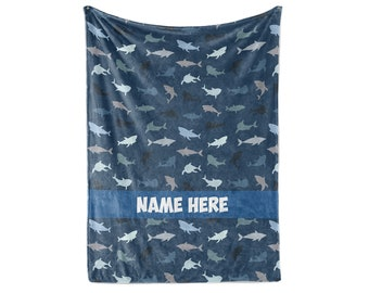 Nautical Shark Theme - Personalized Custom Fleece and Sherpa Blankets with Your Child's or Family Name - Small Medium and Large Sizes