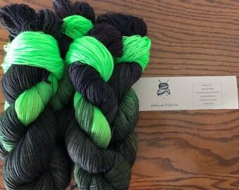 Glowstick hand dyed yarn