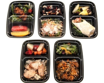 16 Piece Meal Prep 2 Compartment Food Storage Containers Durable BPA Free Plastic Reusable Portion Control & 21 Day Fix Weight Loss Fitness
