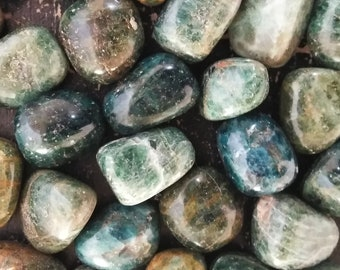 One Blue Green Apatite Tumbled Stone - Gemstone - Crystal Tumble - Reiki - Grid - Chakra