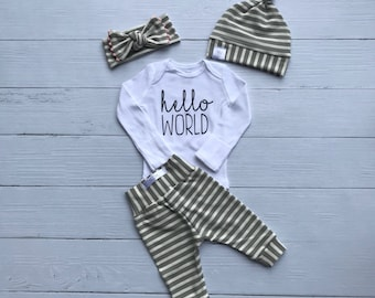 671ec0f76 Coming home outfit / newborn baby outfit / hello world outfit / unisex baby  outfit / cream and gray stripes / modern baby outfit