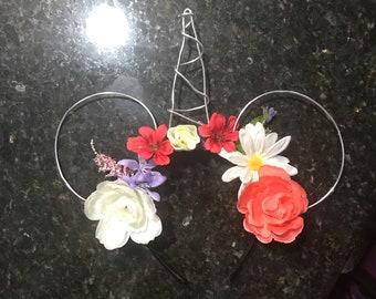 Unicorn Floral Minnie Mouse Ears