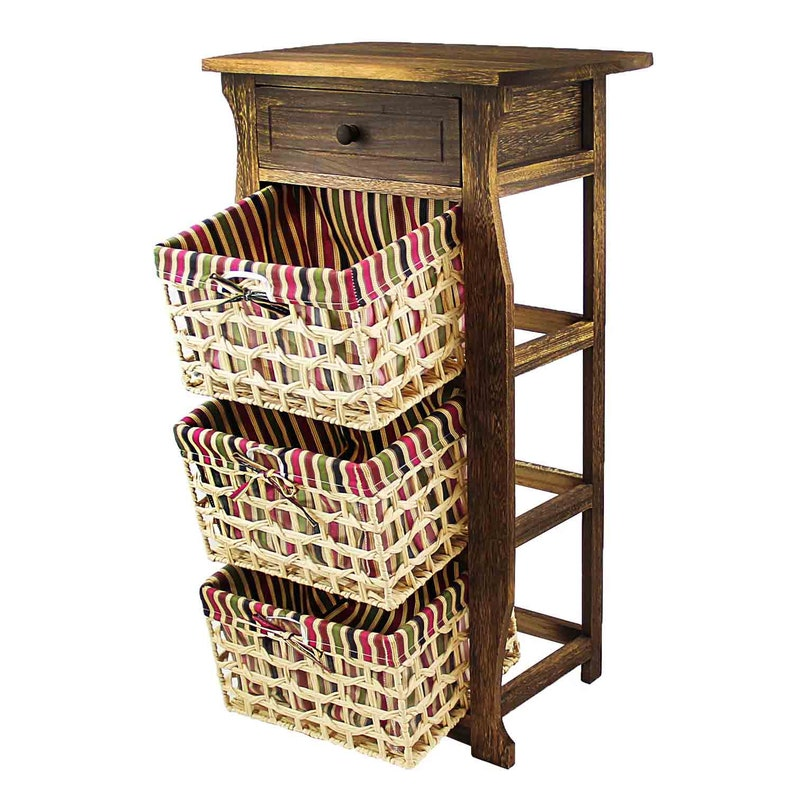 Classic Rustic Countryside Nightstand With a Verity of Weaved Basket /& 1 Drawer